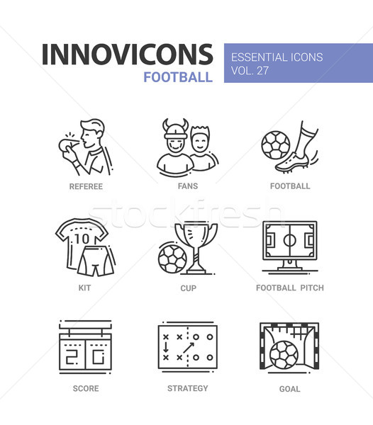 Football - modern color vector single line icons set Stock photo © Decorwithme
