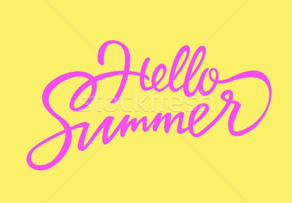 Hello Summer - vector drawn brush lettering Stock photo © Decorwithme