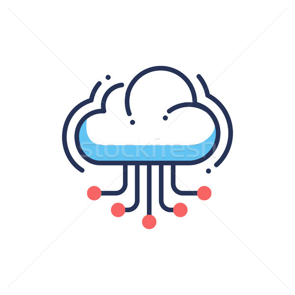 Website cloud hosting moderne vector lijn icon Stockfoto © Decorwithme