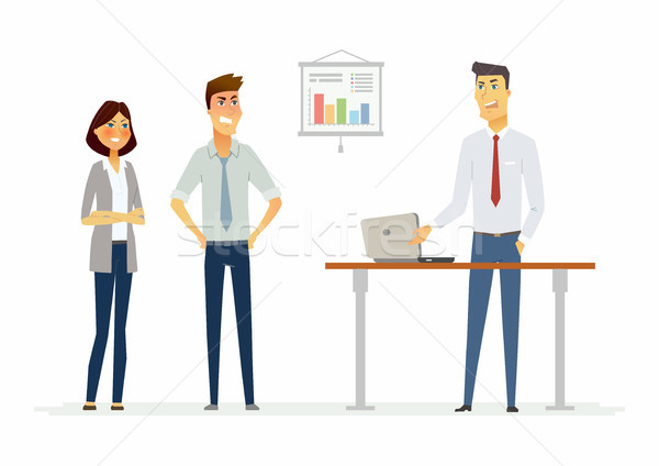Stock photo: Collegues argue in the office - modern cartoon people characters illustration