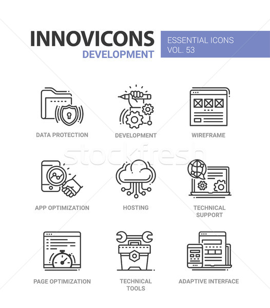 Web Page Development - modern vector line icons set. Stock photo © Decorwithme