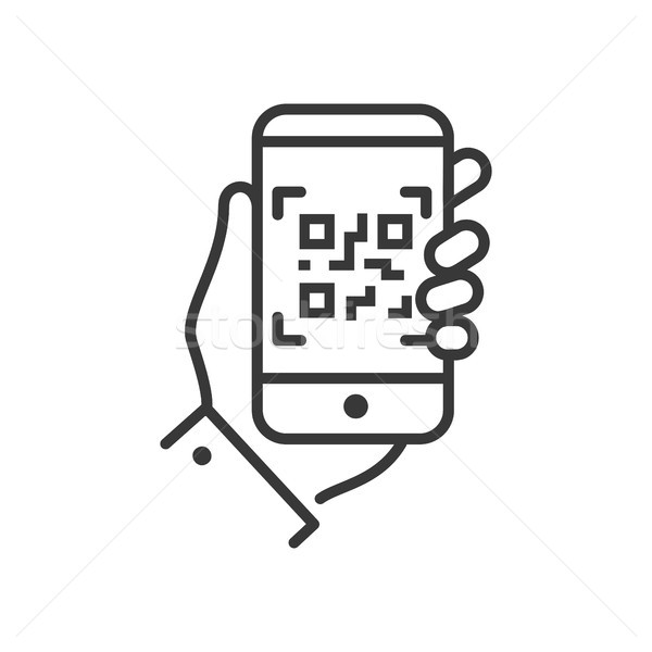 Qr code scanner ligne design isolé icône Photo stock © Decorwithme