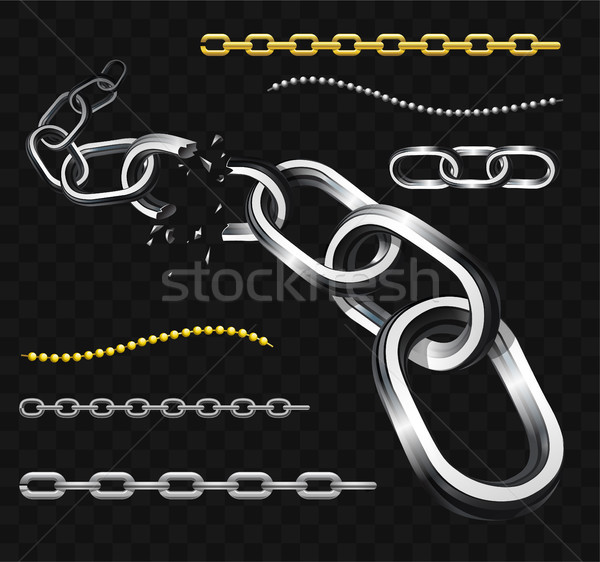 Chains - modern vector realistic isolated clip art Stock photo © Decorwithme