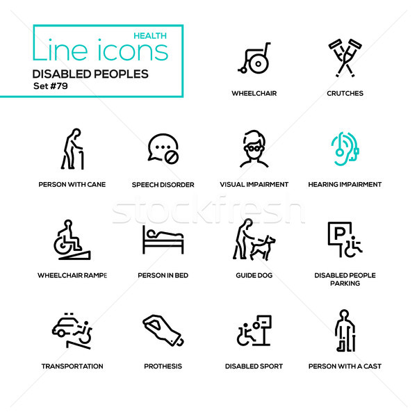 Disabled people - line design icons set Stock photo © Decorwithme