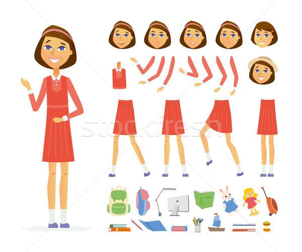 Schoolgirl - vector cartoon people character constructor Stock photo © Decorwithme