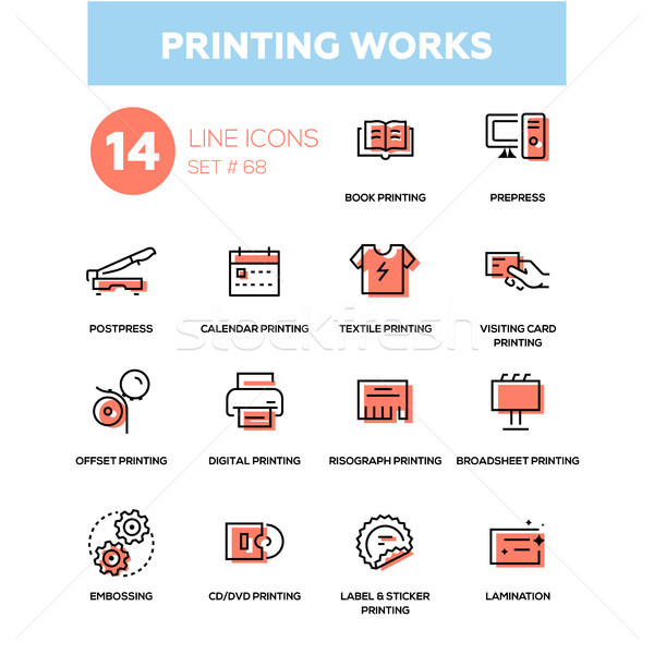 Printing works - line design icons set Stock photo © Decorwithme
