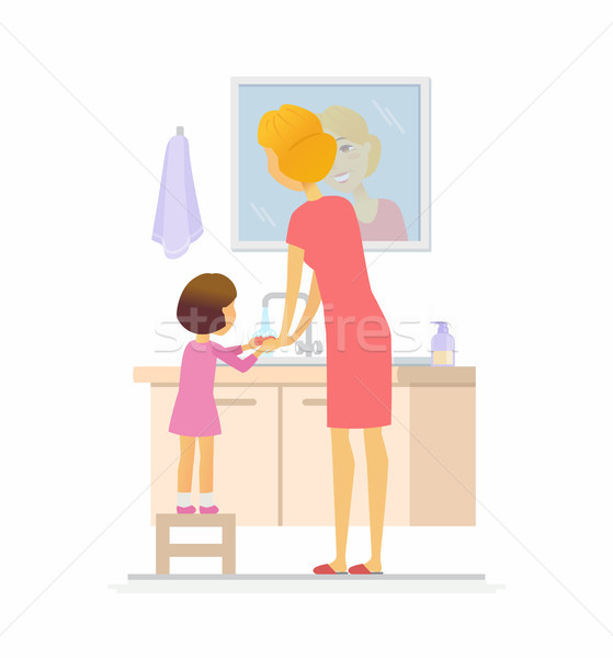 Girl washing her hands - cartoon people character isolated illustration Stock photo © Decorwithme