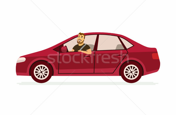 Young man in a car - cartoon people character isolated illustration Stock photo © Decorwithme
