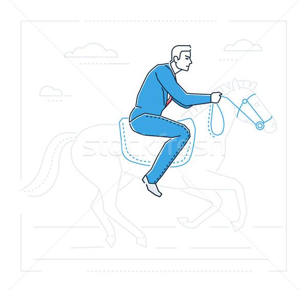 Zakenman paardenrug lijn ontwerp stijl geïsoleerd Stockfoto © Decorwithme