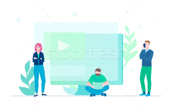 Stock photo: Creative team - flat design style colorful illustration