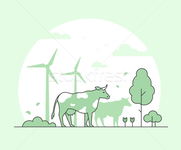 Eco farming - thin line design style vector illustration Stock photo © Decorwithme