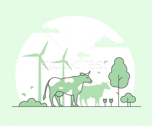 öko gazdálkodás vékony vonal terv stílus Stock fotó © Decorwithme