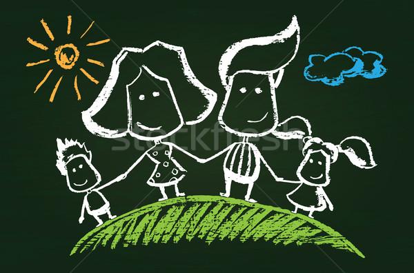 Illustration of chalked happy family Stock photo © Decorwithme