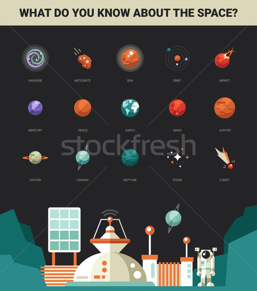 Poster with modern flat design space icons and infographics elem Stock photo © Decorwithme