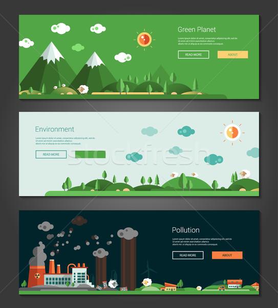 дизайна природного экологический ландшафты Баннеры набор Сток-фото © Decorwithme
