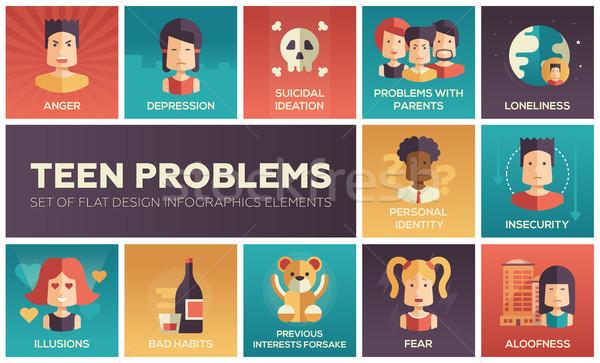 Teen problems- flat design icons set Stock photo © Decorwithme