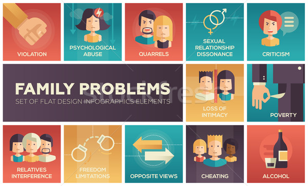 Family problems- flat design icons set Stock photo © Decorwithme