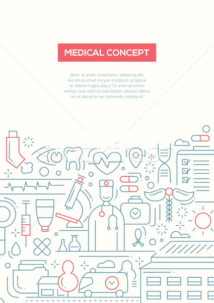 Medical Concept - line design brochure poster template A4 Stock photo © Decorwithme