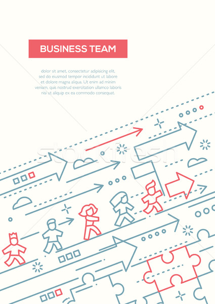 Business Team - line design brochure poster template A4 Stock photo © Decorwithme