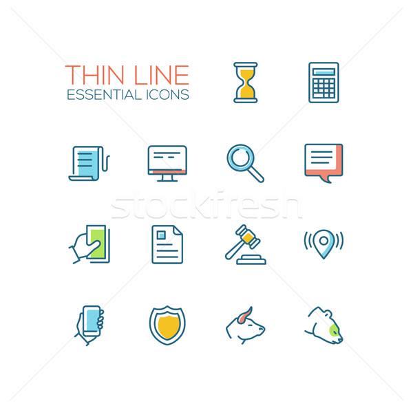 Business, Finance, Law Symbols - thick line design icons set Stock photo © Decorwithme