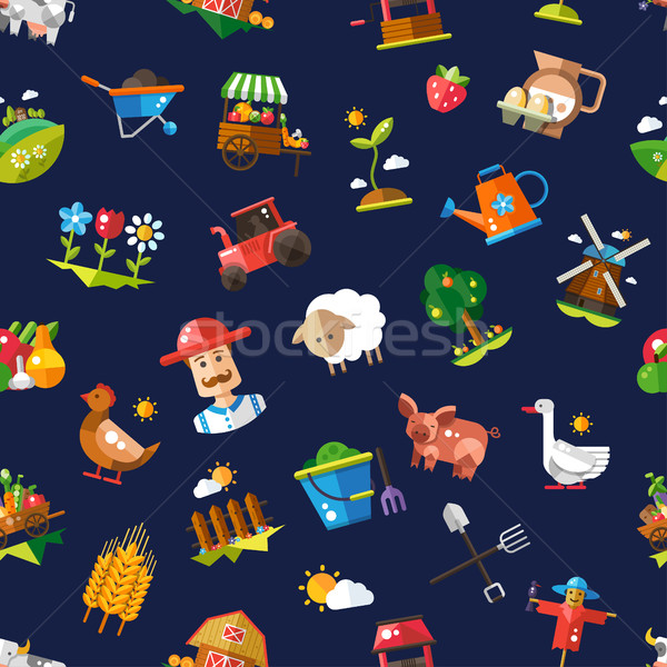 Pattern of modern flat design  farm and agriculture icons and el Stock photo © Decorwithme