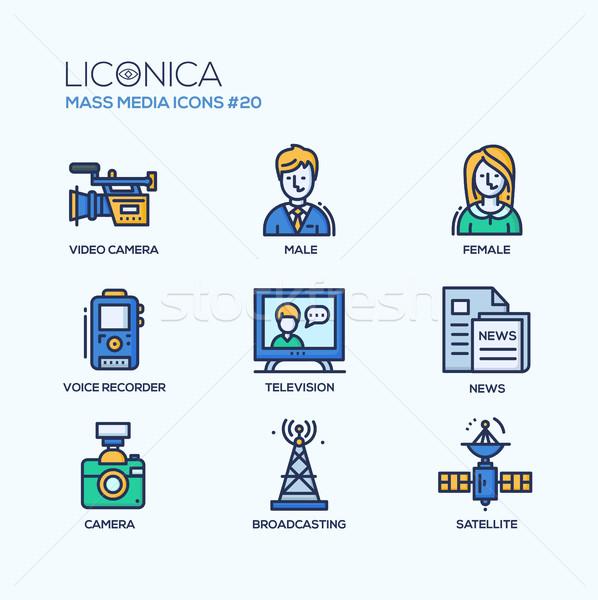 Mass Media - coloured modern single line icons set Stock photo © Decorwithme