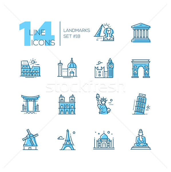Landmarks - coloured modern single line icons set Stock photo © Decorwithme