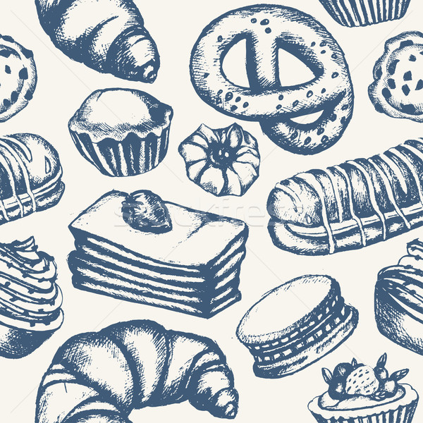 Delicious Sweets - monochromatic hand drawn seamless pattern Stock photo © Decorwithme
