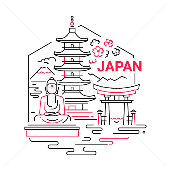 Japan- modern vector line travel illustration Stock photo © Decorwithme
