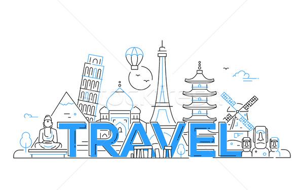 Viaje vector línea ilustración moderna diseno Foto stock © Decorwithme