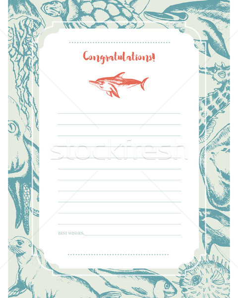 Sea Creatures - hand drawn template card. Stock photo © Decorwithme