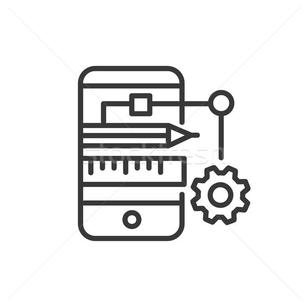 App Developing - modern vector line design icon. Stock photo © Decorwithme