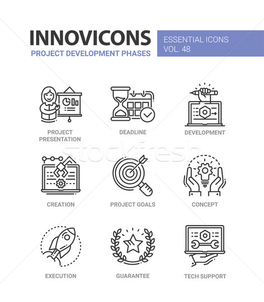 Project Development Phases - modern vector line icons set Stock photo © Decorwithme