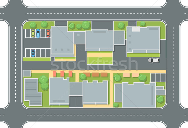 City street top view - modern vector colorful illustration Stock photo © Decorwithme