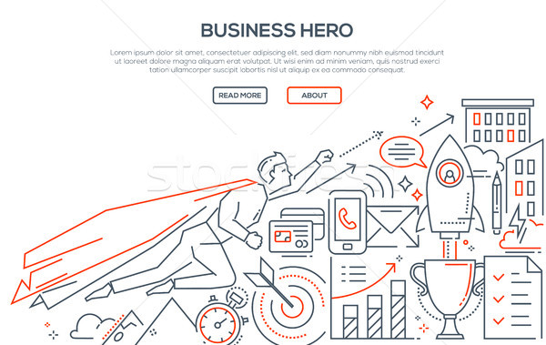 Business hero - modern line design style illustration Stock photo © Decorwithme