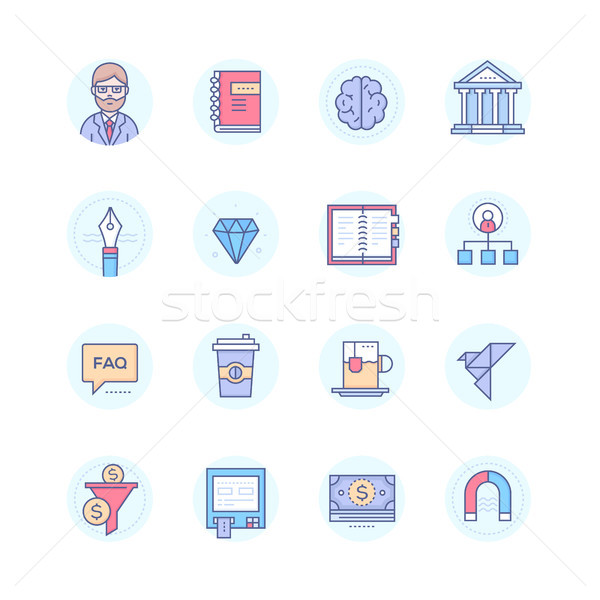 Business and finance concepts - modern line design style icons set Stock photo © Decorwithme