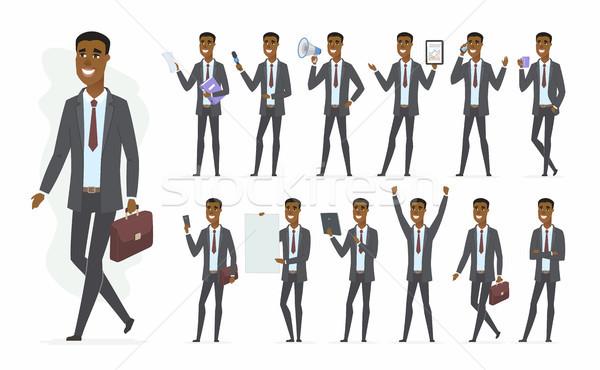 Afrikai üzletember vektor rajzolt emberek karakter szett Stock fotó © Decorwithme