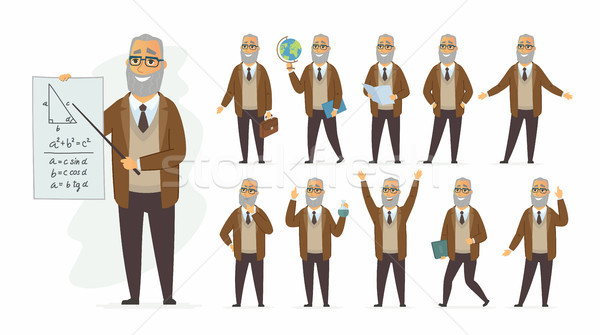 Tanár vektor rajzolt emberek karakter szett izolált Stock fotó © Decorwithme