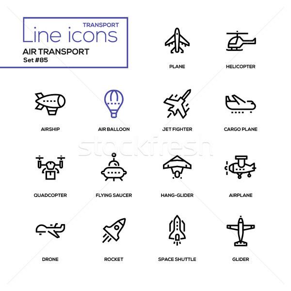 Air transport - line design icons set Stock photo © Decorwithme