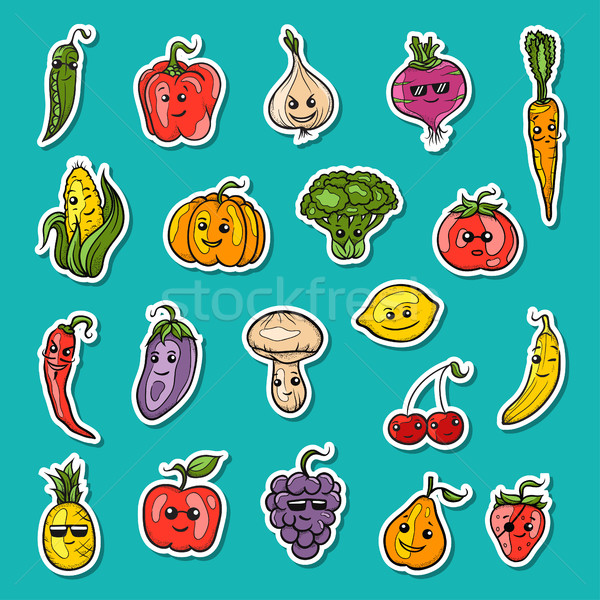 ストックフォト: 実例 · フルーツ · 野菜 · セット · ベクトル · 果物