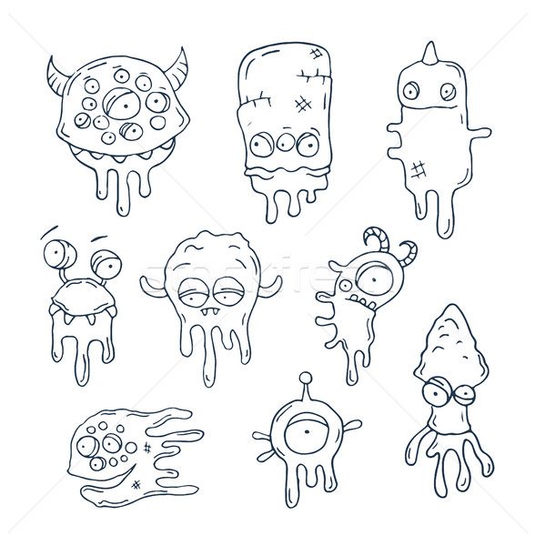 Illustration of friendly, cool, cute hand-drawn monsters collect Stock photo © Decorwithme