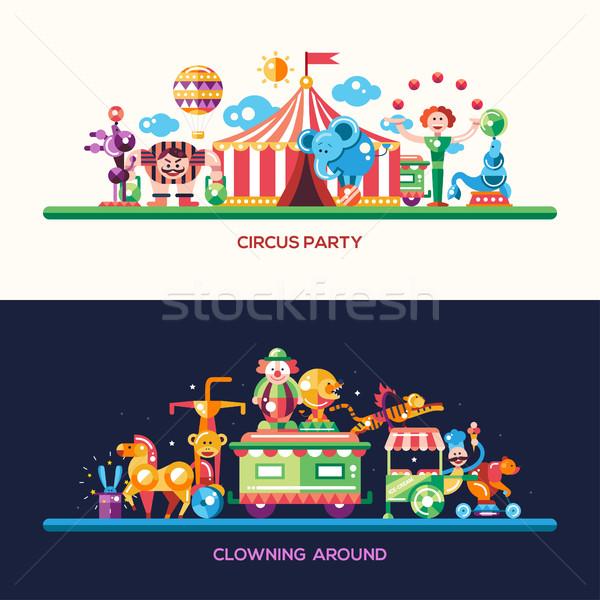 Projeto circo carnaval banners conjunto vetor Foto stock © Decorwithme