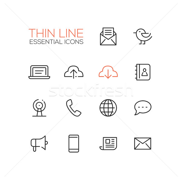 Network and Technology Symbols - thick line design icons set Stock photo © Decorwithme