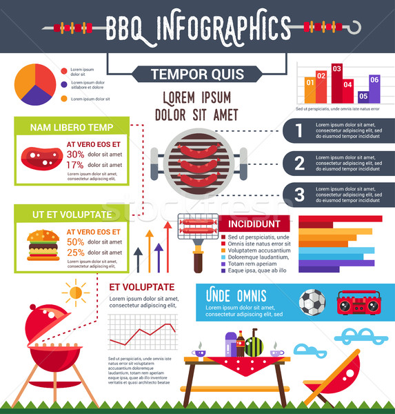 Bbq info Plakat Broschüre Symbole decken Stock foto © Decorwithme