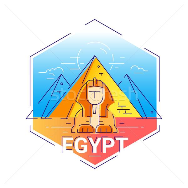 Egyiptom modern vektor vonal utazás illusztráció Stock fotó © Decorwithme