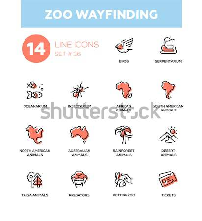 Zoo wayfinding - modern vector line icons set Stock photo © Decorwithme