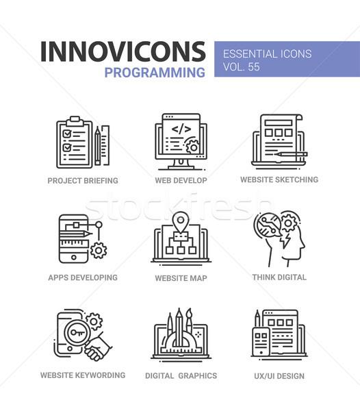 Programming - modern vector line design icons set. Stock photo © Decorwithme