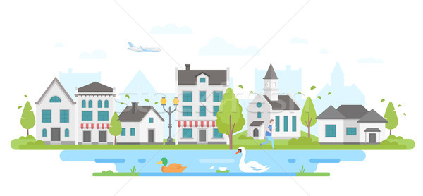 Cityscape with a pond - modern flat design style vector illustration Stock photo © Decorwithme