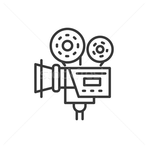 Kamera vonal terv izolált ikon fehér Stock fotó © Decorwithme