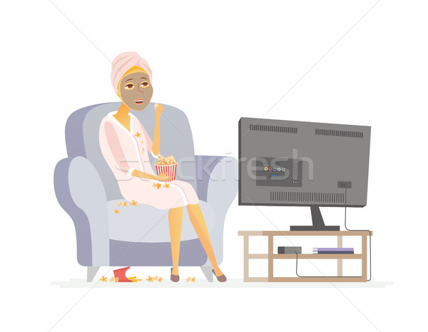 Lazy weekend - cartoon people character isolated illustration Stock photo © Decorwithme
